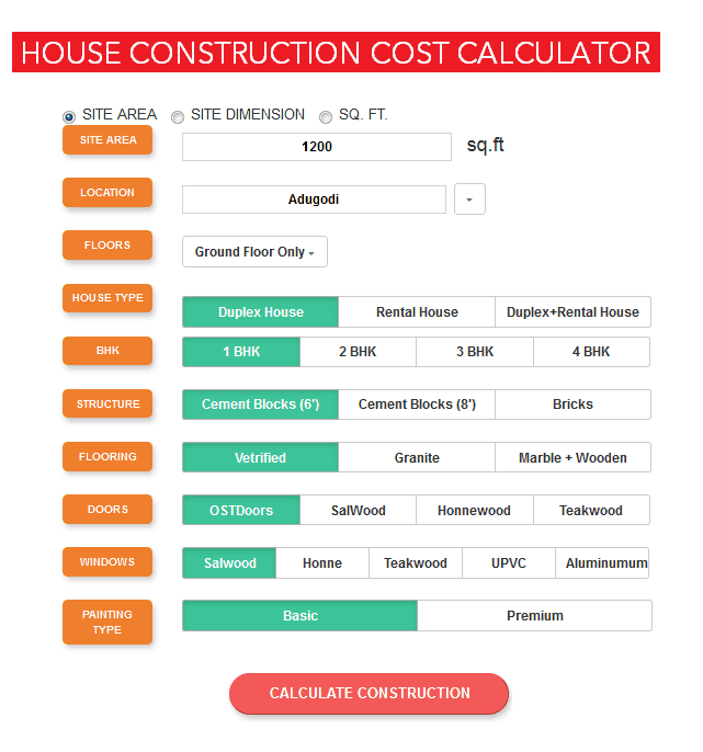 Cost of building a house in bangalore Rs 1300 / sq ft is building