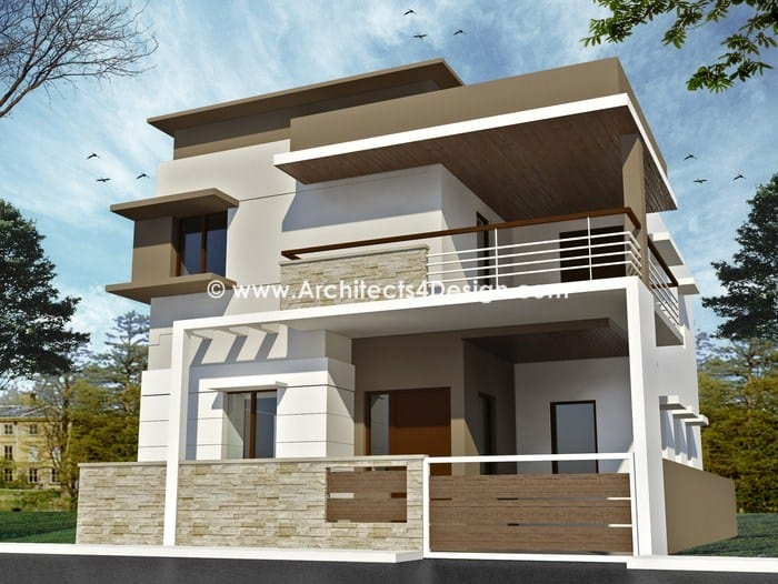 Duplex house plan with elevation for Design duplex house architecture india