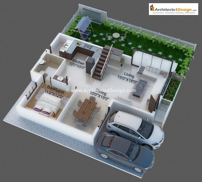 3d Floor Plans on 500 Sq Ft One Bedroom Apartment Floor Plans