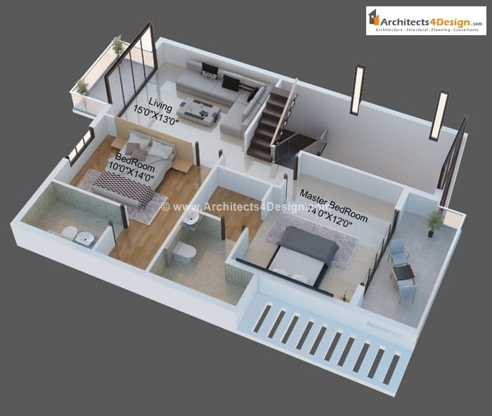 3D Floor Plans By Current Architects
