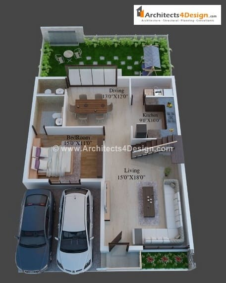 3d floor plans by architects find here architectural 3d for Home plans for 20x30 site