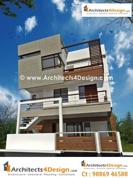1500 square feet indian house plans for Design duplex house architecture india