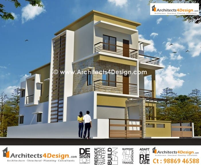 Duplex house plans modern elevation
