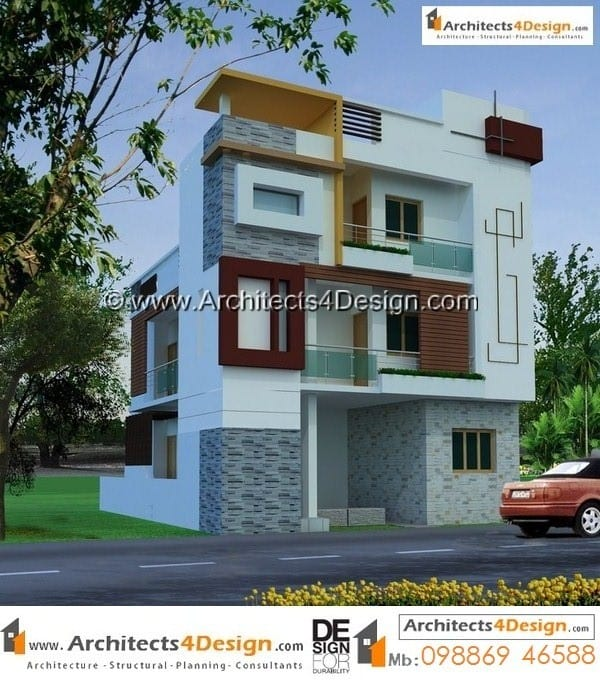 Elevation for duplex house in modern architecture for 30 40 duplex house images