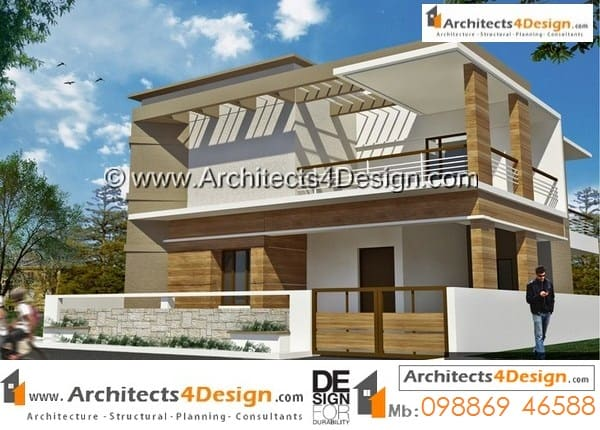 Samples Of 30x40 Elevations On 12000 Sq Ft Site With Duplex House Design  For A 3bhk