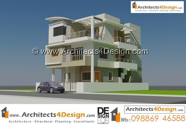 concept 3 for 30x40 house plans in india with g+2 floors having two units with 2 car parking