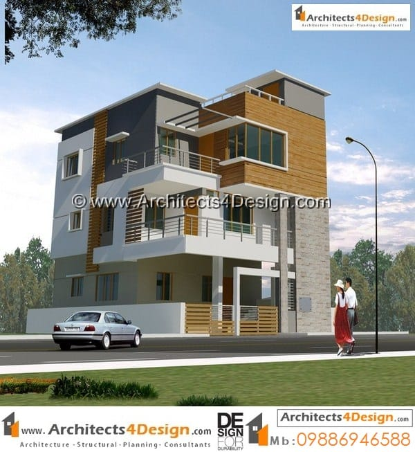 Sample 30x40 house plans west facing g+2 floors 3bhk duplex house plans with 1car park.