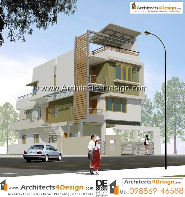 Contemporary Duplex House Design With A Plenty Of Overhang: 30x40 South Facing House Plans Samples Of 30 X 40 House