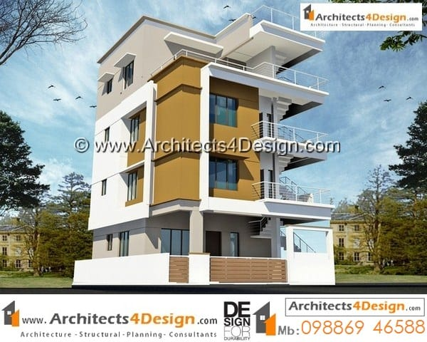 30x40 west facing house plans G+3 floors rental block of 1bhk on ground floor and 2bhk x2 units.
