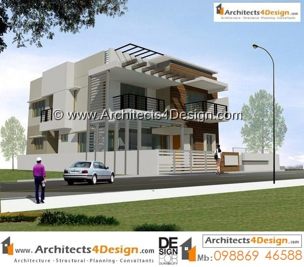 Sample design 40x60 house elevations for 3bhk duplex house design with two car parking based on contemporary residential elevation.
