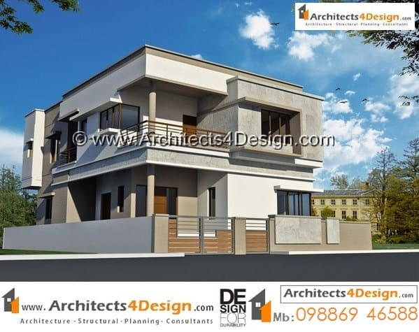 Sample of 40x60 house elevations having 4 bhk duplex house plans with 1 car parking.