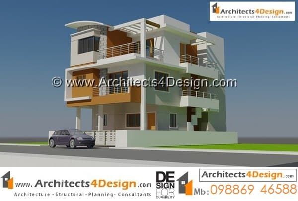 Its based on a contemporary architecture on 20x30 house plans with a good elevation for g+2 floors with 2 car parking.