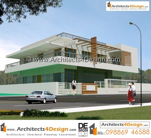 Design of 50 x 80 house plans with contemporary building elevation for G+1 floor duplex house plan