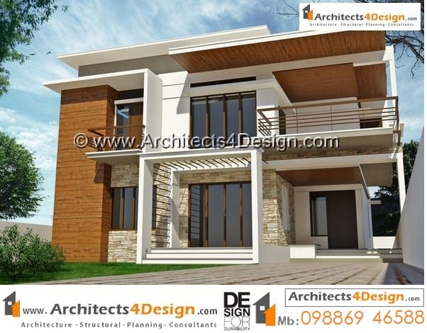 Design of 50 x 80 house elevations sample with good garden area on the front