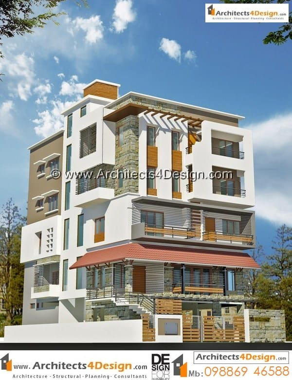 Sample design 50x80 elevations with gound floor parking and upper floors having 2 bhk and 3bhk house plans