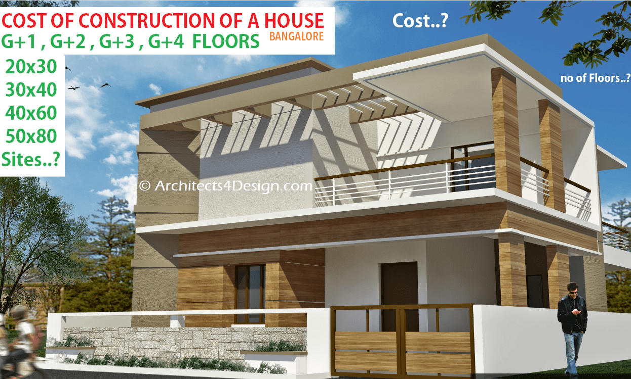 What is the cost of construction for g 1 g 3 g 4 g 2 for House building cost