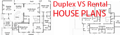 Duplex house plans vs rental house plans