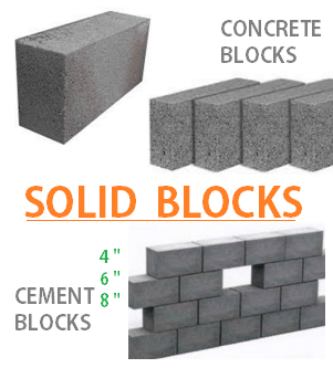 concrete solid blocks 4 6 8 10 inches