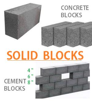 concrete solid blocks 4 6 8 10 inches