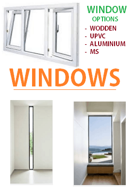 windows options like steel wooden upvc aluminium