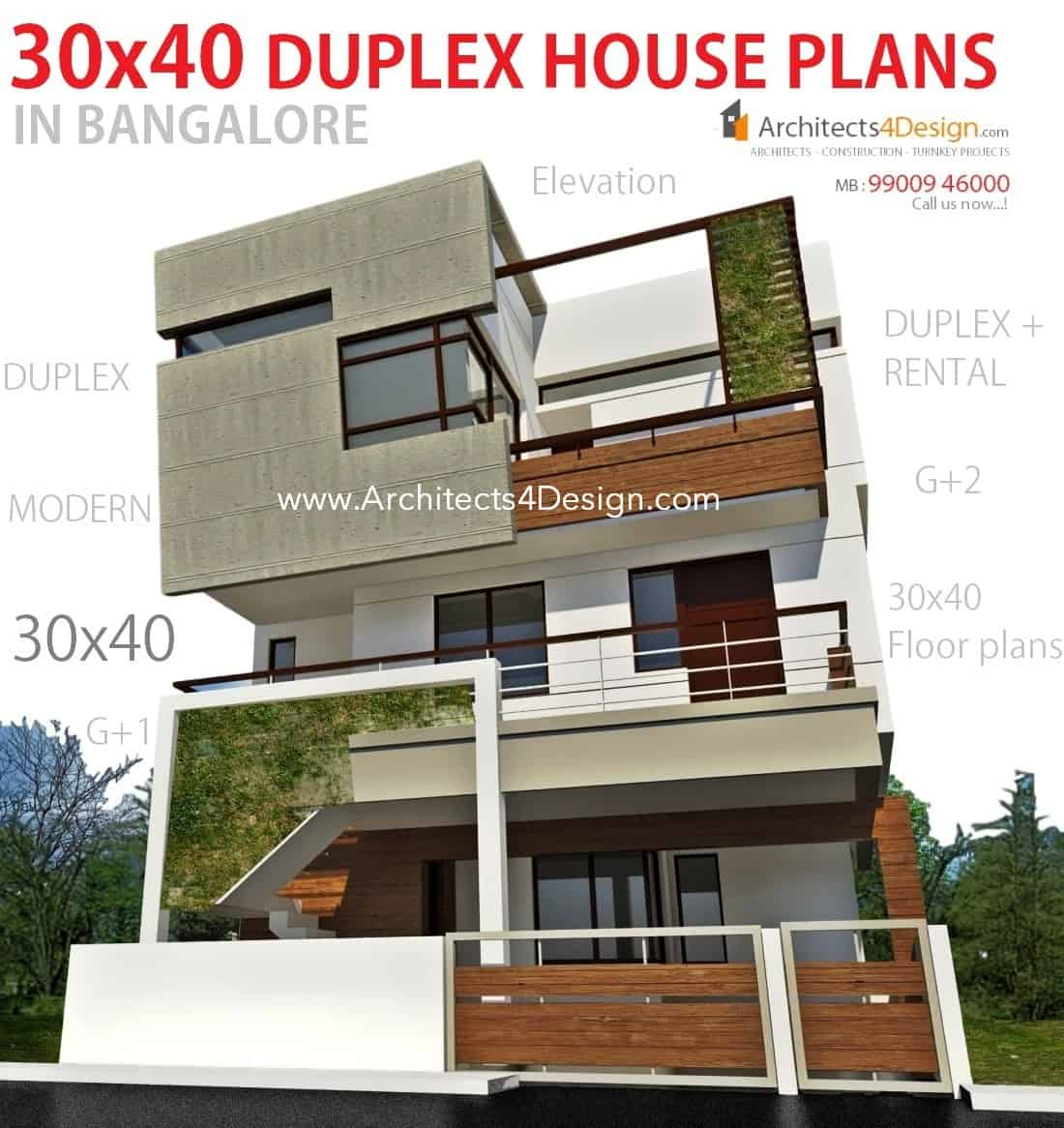 30x40 house plans in bangalore for g 1 g 2 g 3 g 4 floors for Design duplex house architecture india