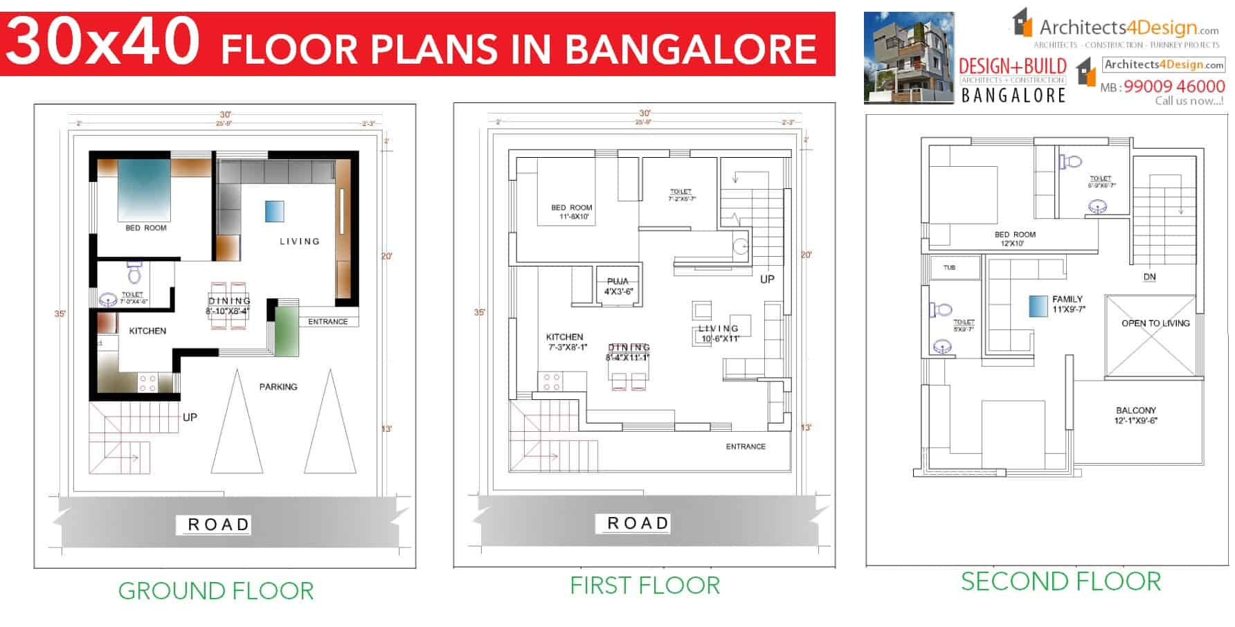 1000 Square Feet Floor Plans 30x40 House Plans In Bangalore For G 1 G 2 G 3 G 4 Floors