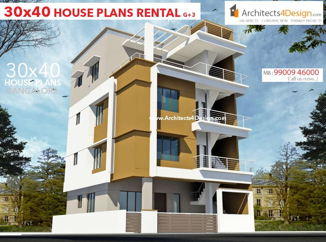 30x40 house plans in bangalore for g 1 g 2 g 3 g 4 floors Rental house plans
