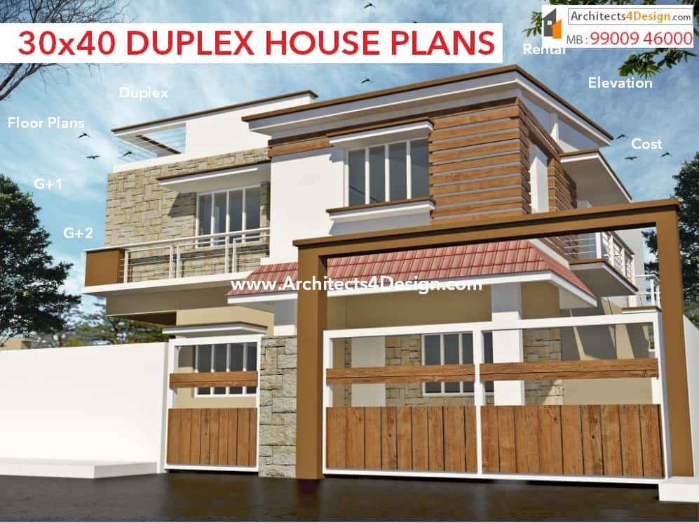 30x40 house plans in bangalore for g 1 g 2 g 3 g 4 floors for Duplex 2