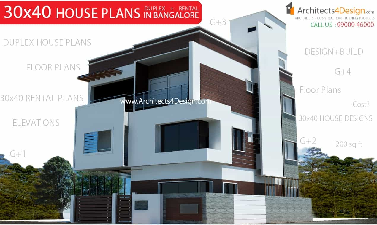 30x40 house plans in bangalore for g 1 g 2 g 3 g 4 floors for Cost to build a duplex house