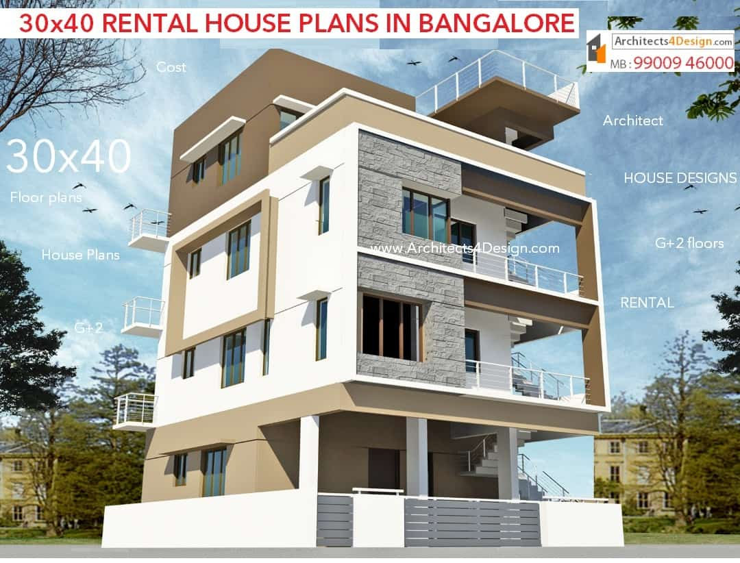 30x40 house plans in bangalore for g 1 g 2 g 3 g 4 floors for Small house design 3rd floor