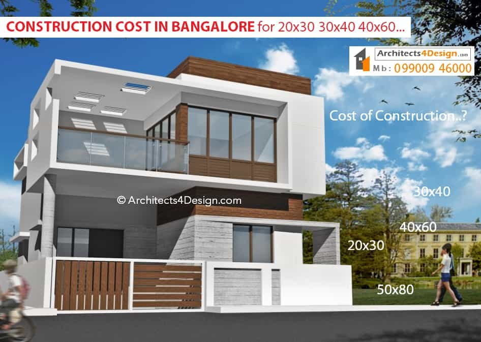20x30 30x40 40x60 50x80 construction cost in bangalore house construction cost in bangalore