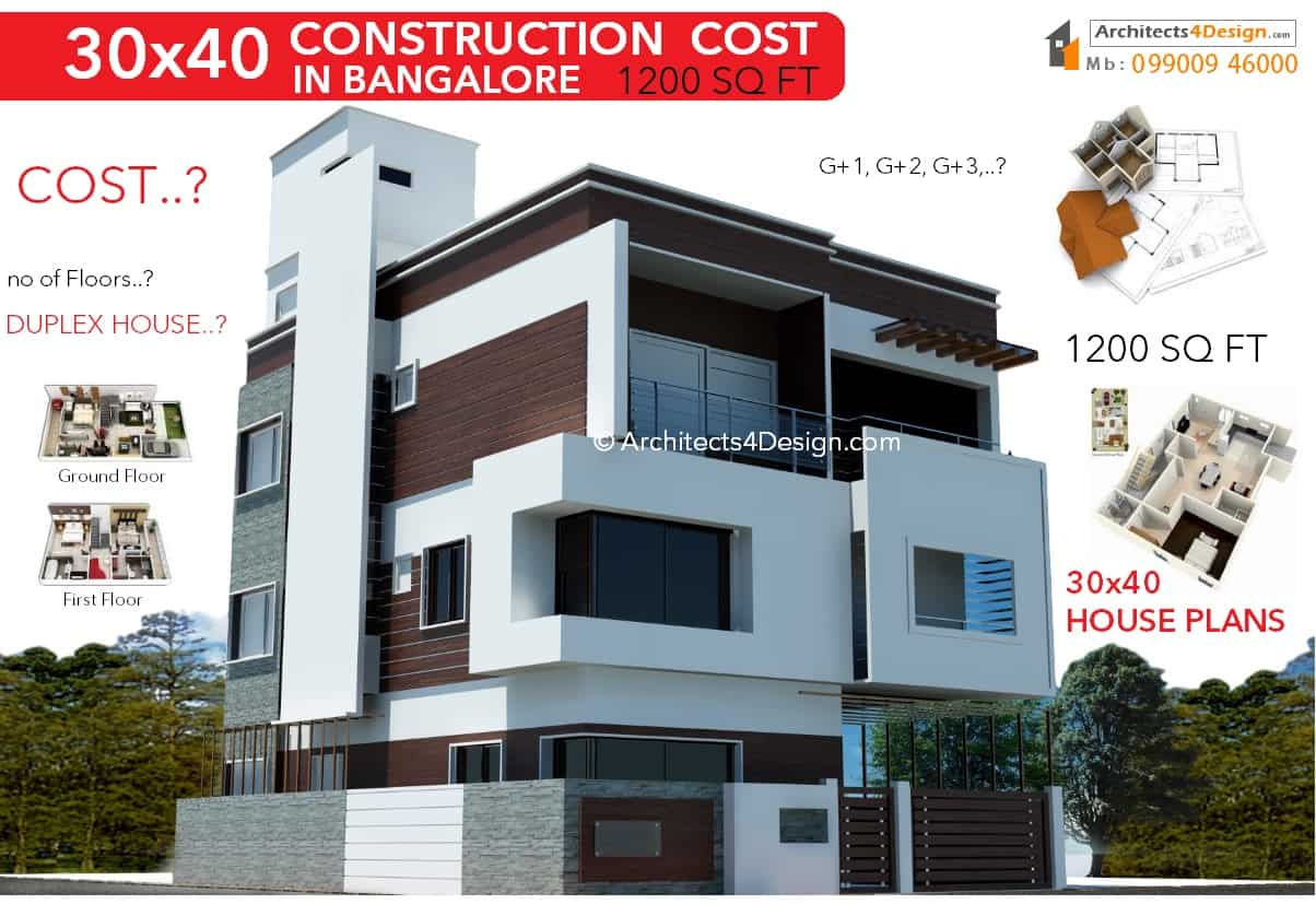 30x40 Construction Cost In Bangalore 30x40 House Construction Cost In Bangalore 30x40 Cost Of Construction In Bangalore G 1 G 2 G 3 G 4 Floors 30x40 Residential Construction Cost