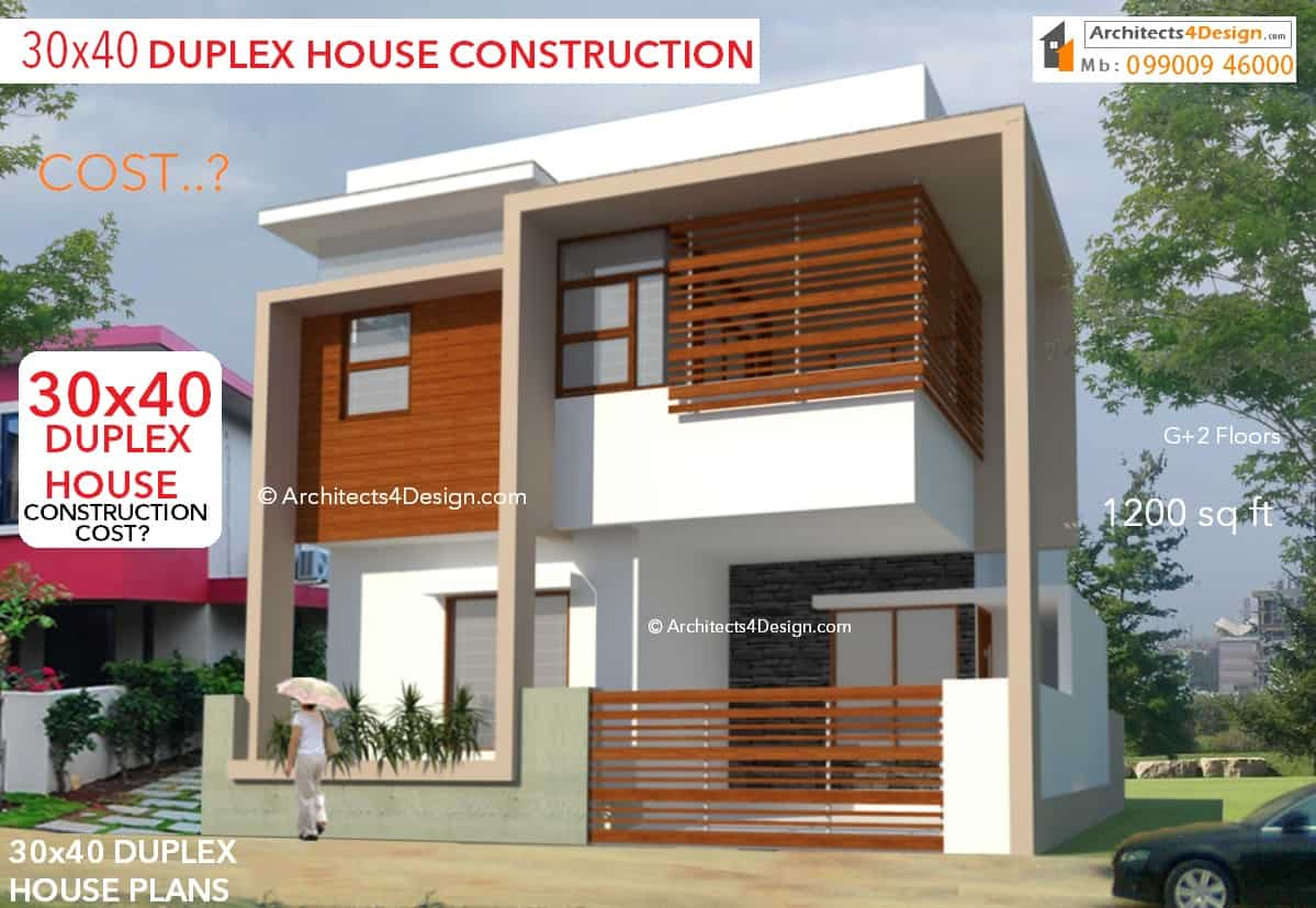 30x40 construction cost in bangalore 30x40 house for Cost to build a duplex house